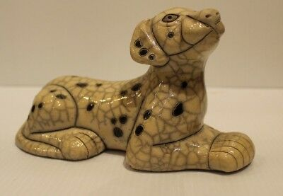The Fenix Raku Pottery Seated Dalmatian Dog Figurine Hand Made in South Africa