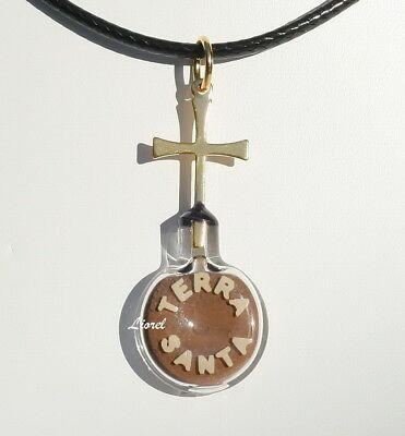 SAND from the HOLY LAND &CROSS Necklace 24K Gold Plate Pendant Israel Bible Soil