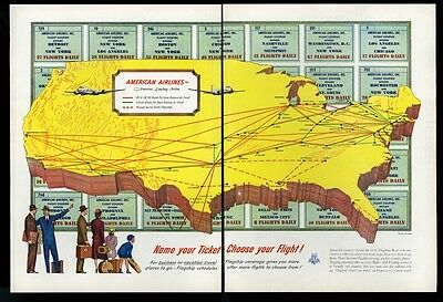 1952 American Airlines big color USA system map vintage print ad