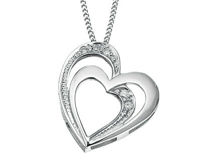 Double Floating Heart Diamond Pendant Necklace in Sterling Silver with Chain