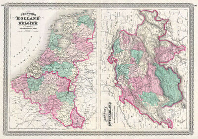 1870 Johnson Map of Holland, Belgium, and Switzerland