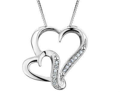 1/8 Carat (ctw) Diamond Heart Pendant Necklace in Sterling Silver with Chain