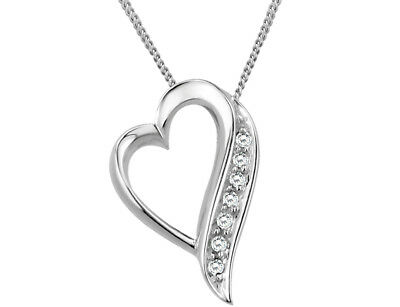 Floating Heart Diamond Pendant Necklace in Sterling Silver with Chain