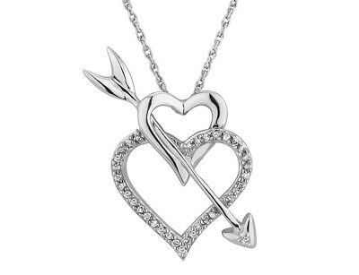 1/10 Ct Double Heart and Arrow Pendant Necklace in Sterling Silver with Chain