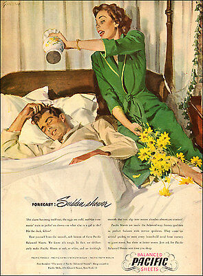 1950s vintage AD PACIFIC BED SHEETS Cute bedroom ART by Gannam  060217