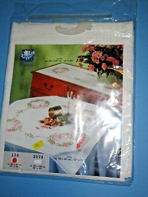 """Stamped cross stitch: Vervaco Table topper  floral 32"""" #174"""