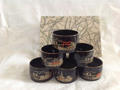 Antique or vintage set of 6 Chinese lacquer lacquered napkin ringas original box