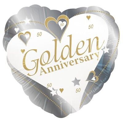 Anniversaire D'or Coeur Forme Boucle Gonflable 43cm - Anniversary Golden Party