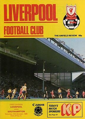 LIVERPOOL v SOUTHAMPTON, DIVISION 1, 12th OCTOBER 1985. LEAGUE & CUP DOUBLE.