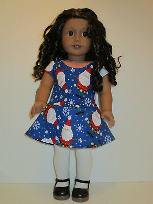 """Santa/Blue Christmas Knit Dress for 18"""" Doll American Girl Doll Clothes"""