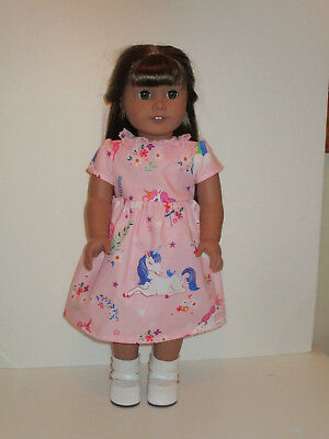 """Unicorn & Flowers/Pink Dress for 18"""" Doll Clothes American Girl"""