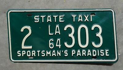 Louisiana 1964 State Taxi license plate #  2   303