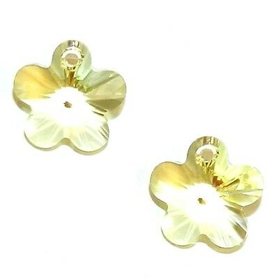 SCY239 Jonquil Yellow 14mm Faceted Flower Drop Swarovski Crystal Beads 2pc