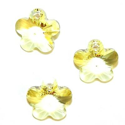 SCYL239 Jonquil Yellow 14mm Faceted Flower Drop Swarovski Crystal Beads 6pc