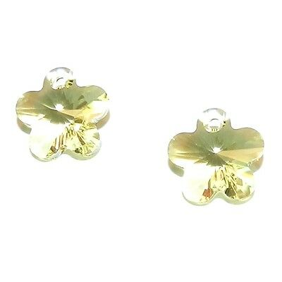 SCY139f Jonquil Yellow 12mm Faceted Flower Drop Swarovski Crystal Beads 2pc