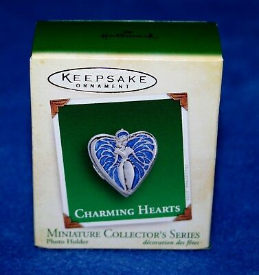 "Hallmark 2005 ""charming Hearts"" Photo Holder Miniature Keepsake Ornament (Nib)"