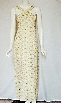 NOS! VTG 70s GOLD Embroidered 1930s Style DRESS GOWN X Neck HALTER S Ivory NWT
