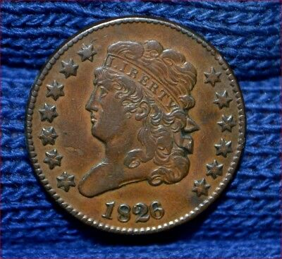 1826 HALF CENT**XF**CHOICE BROWN**Reverse Rotated 30 degrees**Low Mintage Year !