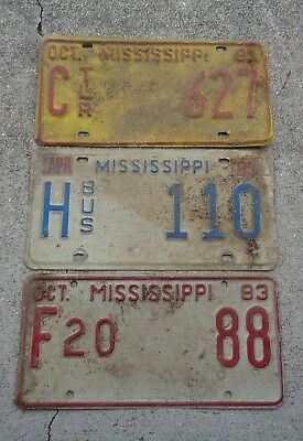 3 Mississippi 1980's  license plate  #  F20   88 , C  627 ,  H 110