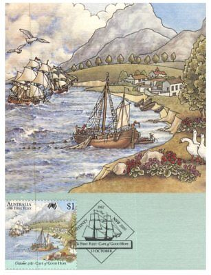 Australian Maxicard - 1987 - 3 cards - First Fleet in Cape of Good Hope