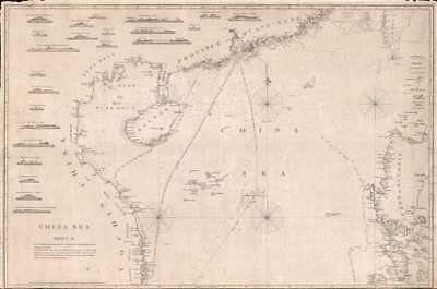 1848 Horsburgh Map of of the South China Sea: Hong Kong, Philippines, Hainan