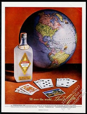 1948 globe photo Gilbey's Gin vintage print ad