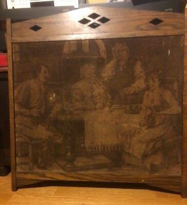 ANTIQUE WOOD Arts & Crafts FIREPLACE SCREEN  NEEDLEPOINT