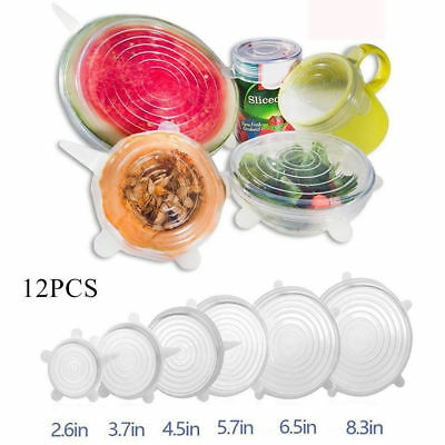 12PCS Silicone Bowl Cover Lids Stretch Suction Lid Pan Cooking Pot Cover Kitchen