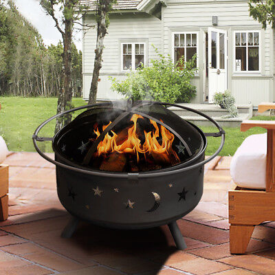 Cast Iron Fire Pit Garden Firepit Patio Heater Brazier Barbecue 750mm Diameter