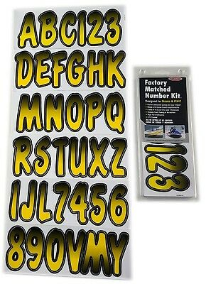 Hardline Factory Matched Letters & Numbers - Series 200 - Yellow/Black YEBKG200