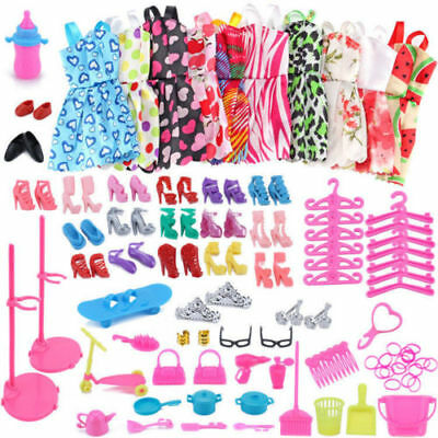 80 Items For Barbie Doll Dresses, Shoes,jewellery Outfits Set Accessories