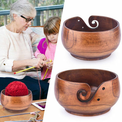 Handmade Wooden Yarn Bowl Sheesham Wood Knitting Tool Crochet Wool Bowl Storage