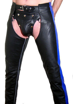 Lederchaps schwarz blau gay CHAPS Lederhose leather pants black Pantalon Cuir