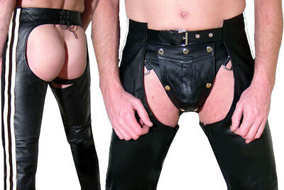 Lederchaps schwarz weiß gay CHAPS Lederhose leather pants black Pantalon Cuir