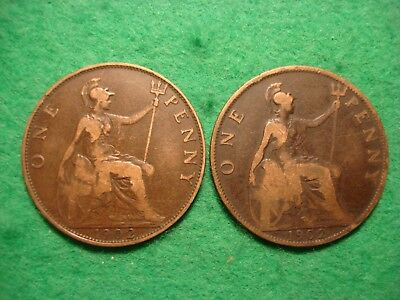 1902 High Tide Penny + 1902 low Tide Penny Nice Collectable  FREEPOST [N-94]