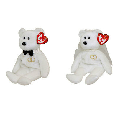 TY Beanie Babies - SET OF 2 MR. and MRS. Bears (Groom & Bride)(8.5 inch) - MWMTs