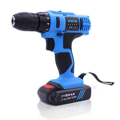 Rechargeable Electric Drill Cordless Screwdriver Set 21V Double Speed Tool D5M4