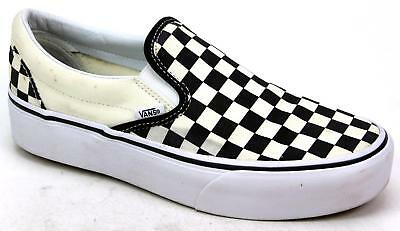 ee23bb7f3dcf Unisex Vans Classic Checkered Slip On Cream Black Canvas Skater Trainers  Size 6