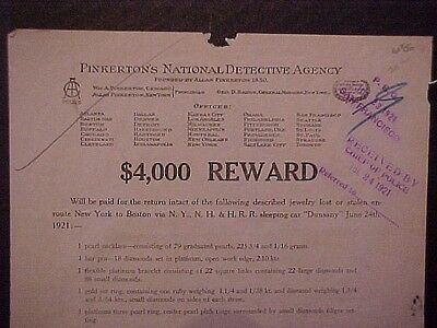 New Haven Railroad Reward Poster Jewel Theft On Sleeping Car NYNH&H Pinkerton