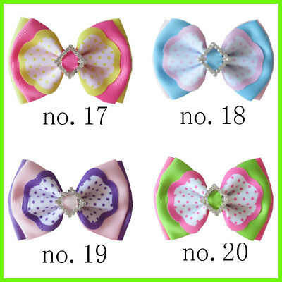 "50 BLESSING Good Girl Boutique 4"" Double Bowknot Hair Bow Clip Accessories"