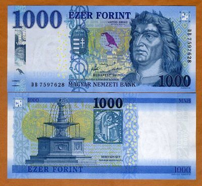 Hungary, 1000 Forint, 2017 (2018), P-206, redesigned UNC