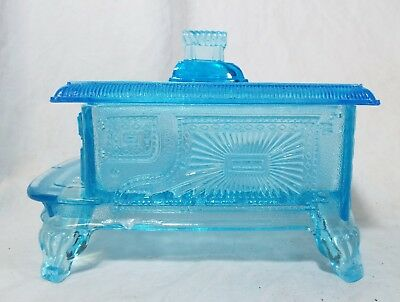 Old Antique KING, SON & CO Blue PRESSED GLASS Stove Shaped BUTTER DISH W/ LID