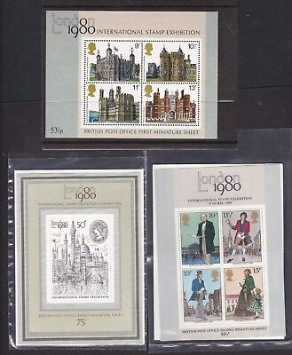 Gb Great Britain First Three Miniature Sheets Never Hinged Mint