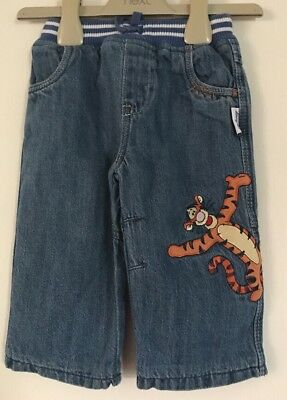 George Disney Tigger Patterned Baby Boys Lined Blue Jeans. Age 3-6 Months