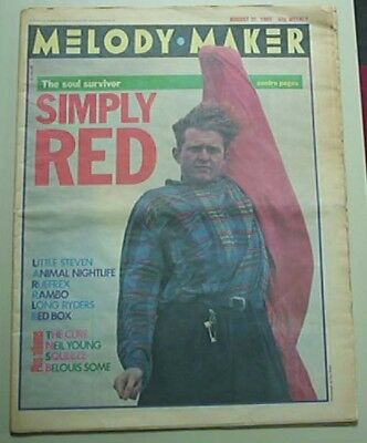 Simply Red Melody Maker Magazine 31 August 1985 - Mick Hucknall Colour Cover + F