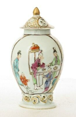 Antique 18Th C Chinese Qianlong Porcelain Tea Caddy & Lid, Tea Drinking Scenes