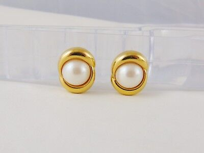 Vintage Carolee Faux Pearl Clip Earrings Smooth Gold Tone Frames Mint