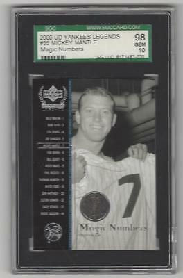 2000 UPPER DECK YANKEES LEGENDS MICKEY MANTLE #55 GRADED SGC 98 10 pop 1
