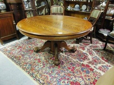 "*sale* Victorian 19Th Century Quartersawn 54"" Rd Oak Dining Table W/ Pawfeet"