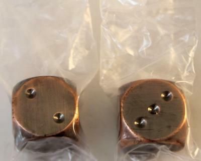 Crystal Caste Dwarven Metal Dice D6 16mm Copper - Antique (2) MINT